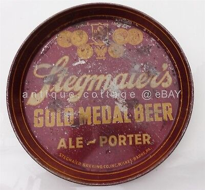 1940's vintage STEGMAIER'S GOLD MEDAL BEER TRAY wilkes barre pa tin LITHO