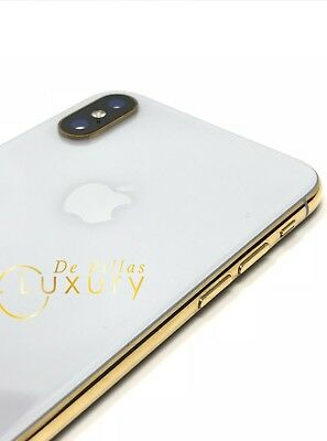 24K Gold Plated Apple iPhone X 64GB - Silver Unlocked Custom UNIQUE
