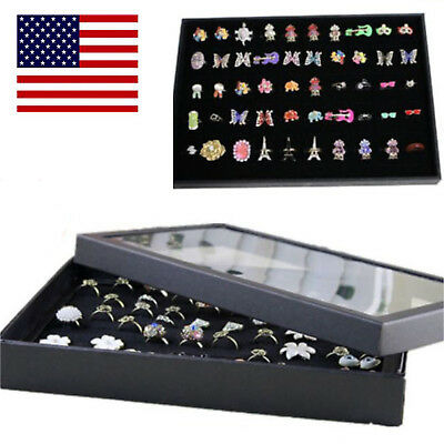 Jewelry Box Ring Display Case Organizer Storage Velvet Tray Holder Glass Top US
