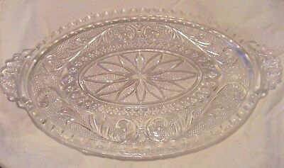 Vintage oval butter dish base clear glass
