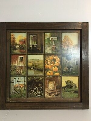 Home Interiors B Mitchell Fall Harvest 12 Pane Picture With Wood Frame