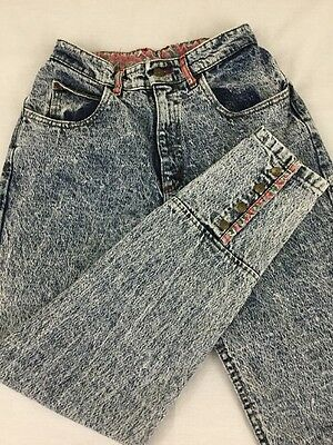Vintage Lee Mom Jeans Size 9 Acid Washed High Waisted Denim USA Paisley Trim 80s