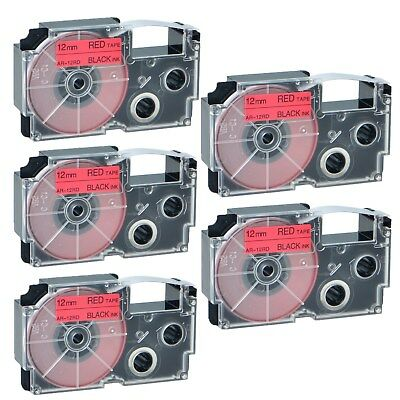 """5PK XR-12RD Black on Red Label Tape for Casio KL-60 100 7000 8200 8800 1/2"""""""