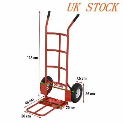 Industrial Heavy Duty Hand Sack Truck Trolley with Pneumatic Tyres Red Large