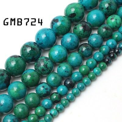 """Natural Green Chrysocolla Beads Gemstone for Jewelry Making Round Beads 15"""""""