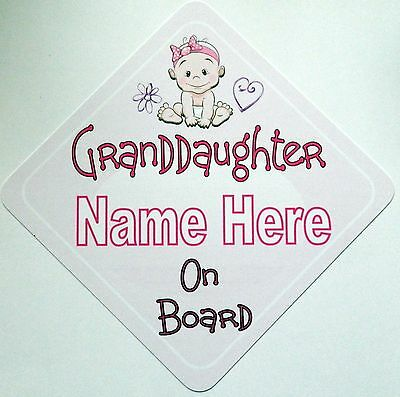 Handmade Personalised Granddaughter Baby on Board Car Sign ~ Pink