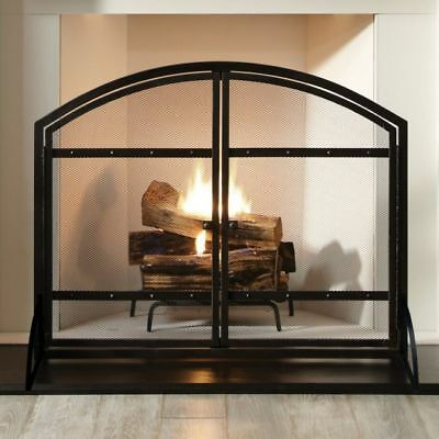 Panel Fireplace Screen Doors Heavy-Duty Mesh Screen Antique Black Finish Heating