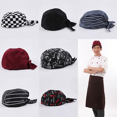 2Pc/set Chef Skull Cap Professional Catering Baker Cook Chefs Hat Adjustable