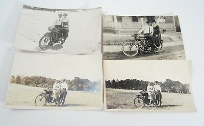 Original Vintage Lot of 4 Real Photo Postcard Man Woman Early Indian Motorcycle
