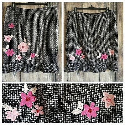 Kelly and Diane Career Black White Tweed Pink Floral Lined Flounce skirt sz 12p