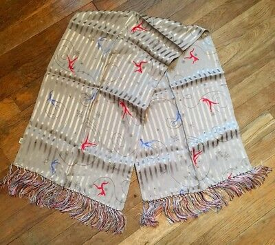 Vintage 1940s Rayon Scarf Art Deco Ice Skaters Snow Flakes Hand Tied Fringe NOS