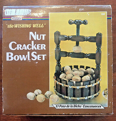 Vintage Wood Nut Bowl Wishing Well Retro Nut Cracker Screw Top by Nevco New