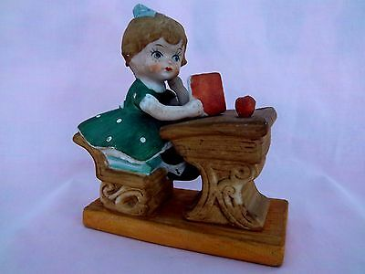 Figurine Statue Cute Little Girl Reading Book Old Fashion School Desk with Apple