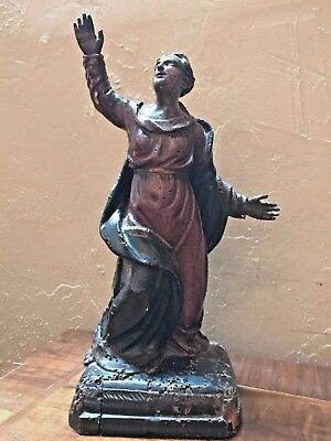 Antique Italian carved wood saint, polychrome finish, circa 1780.
