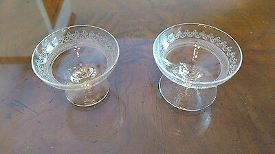 2 Different Size Vintage Clear Stemware Dishes Salt Cups Matching Designs