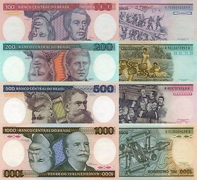 Brazil 4 Note Set: 100 to 1000 Cruzieros (ND/1984) - p198b, p199b, p200b, p201d