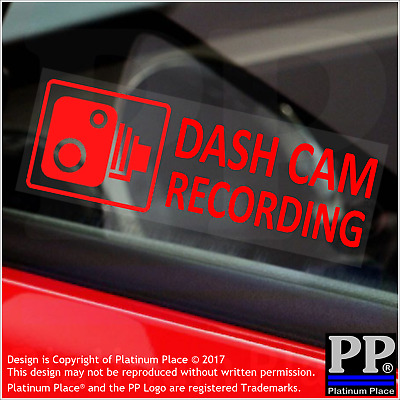 5 x Dash Cam Recording-RED-Internal Stickers-Car,Van,Taxi,Warning,Camera,Safety
