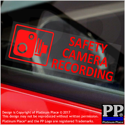 5x Safety Camera Recording-RED-Alarm Security Stickers-Car,Taxi,Tracker Warning