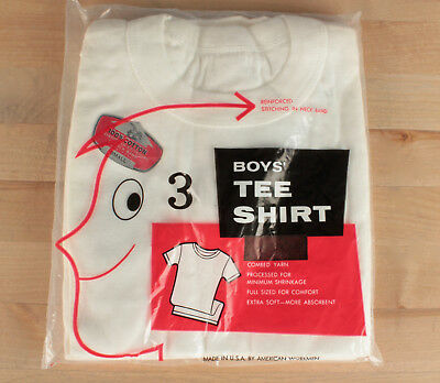 Vtg. 1960s Deadstock 3 Pack of Boy's White Cotton T-Shirts Size Small #621 60s
