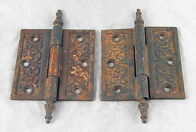 Pair Of Ornate Door Hinges With Steeple Tips