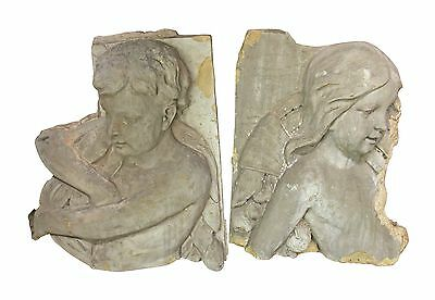 Historic Pair of Boy and Girl Figures from a Terra Cotta Frieze