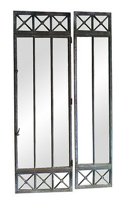 Beaux Arts Cast Iron Frame Windows or Doors with Two Side Lights