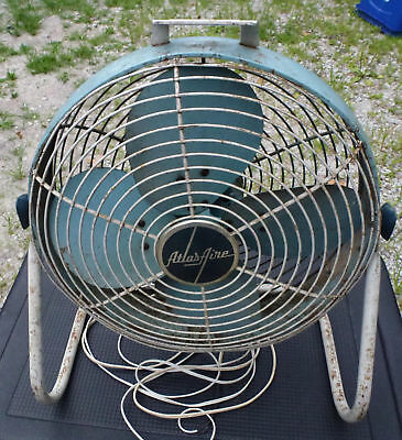 "Vintage 16"" Atlas Aire All Metal Fan electric 4 blade floor rmr corp stand"