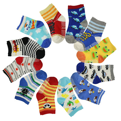 12 Pairs Anti Slip Baby Kids Socks Ankle Toddler Non skid Soft Cotton Assorted B