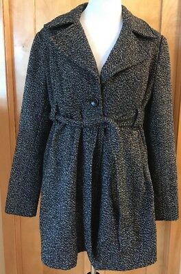 LIZ LANGE Maternity Target Tweed Pea Coat Belted Fully Lined Button Size Large
