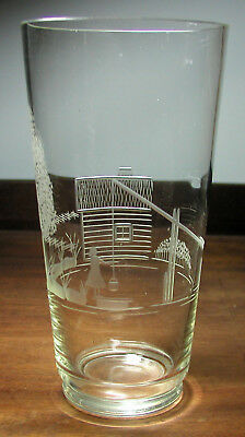 Vintage Mid-Century Signed Karhula Fine Engraved Vase W/House & Woman at Well