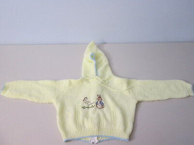 Quiltex Littleknits Peter Rabbit Baby Toddler Hooded Sweater 24 Mos Vintage