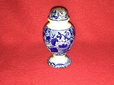 Historical Staffordshire Dark Blue Pepper Pot Basket Of Flowers By Clews B