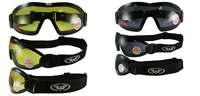 Lot of 2 Padded Motorcycle Goggle Smoked Yellow Googles Skydiving Riding Quad