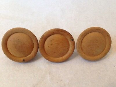 Lot of 3 Round Solid Pine Wood Antique Vintage Cabinet Knobs Drawer Pulls 2""