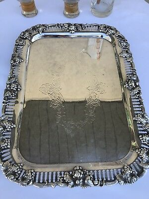 Vtg tray 4 Hallmarks Silver on Copper Sheffield Georgian 14 x 11 grapes footed