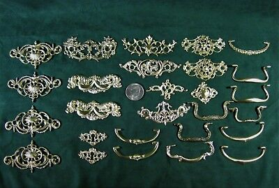 Antique Drawer Pulls Lot of 27 Heavy Cast Brass Handles Backplates Not Stamped