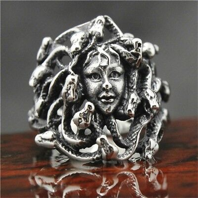 New! Stainless Steel Silver Medusa Snake Head Dress Womens Face Biker Skull Ring