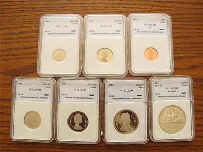 1987 Canada ENCAPSULATED 7 COIN PROOF MINT SET