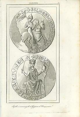 Antique Seal Counterseal Of William The Conqueror Copper Plate Engraving Print