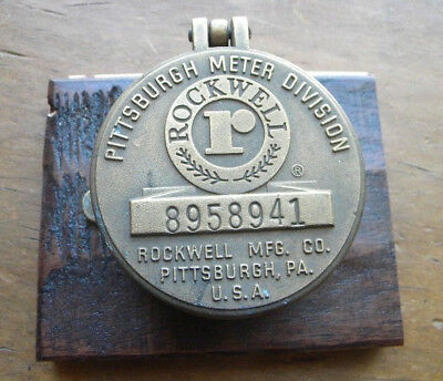 "VTG Rockwell PITTSBURGH, PA 3"" Brass Water Meter PAPERWEIGHT Steampunk"