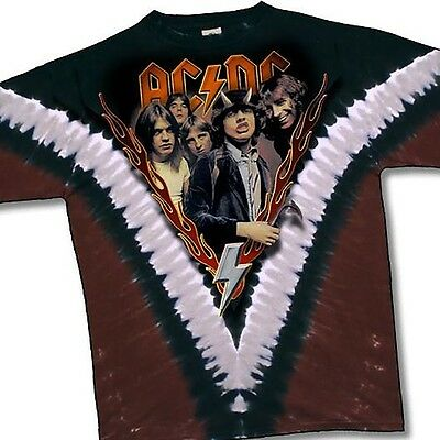 AC DC-HIGHWAY TO HELL-2 SIDED-V TIE DYE TSHIRT M,  L, XL Angus Young, RARE & NEW