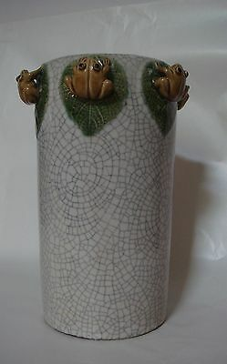 """Chinese Crackle Glaze Pottery Vase - 6 Applied Brown Frogs On Green Leaves - 11"""""""