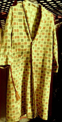 Vintage BEACON BLANKET ROBE Warm Yellow Multi Checks All Cotton M/L