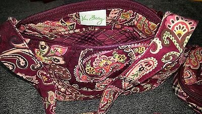 3 Pc Vera Bradley Purse W/accessories, Burgundy/paisley, Very Gently Used
