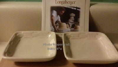 NEW Longaberger Set of 2 DIPPING PLATES-BOWLS-DISHS in WT IVORY-RARE Pottery DIP