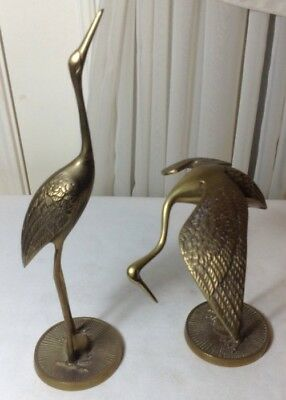 Vintage Pair Of 2 Solid Brass Egret Crane Figures Statue Made In Korea