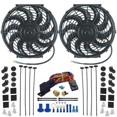 Dual Electric Radiator Engine Cooling Fans Thermostat Sensor Kit Thread-In Probe