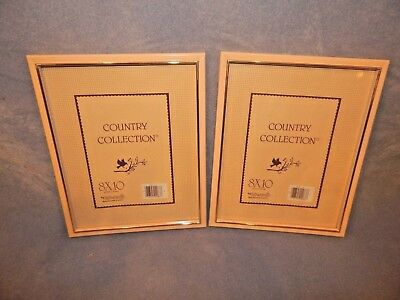 """Lot of 2 - Ivory (or Light Peach) Photo Picture Frames - 8""""x10"""" - NEW - Glass"""