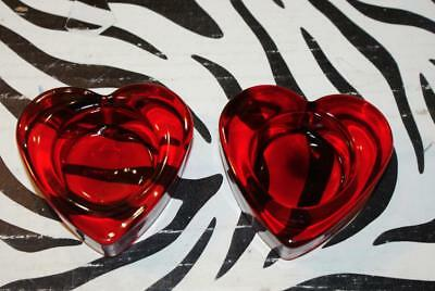Solid Red Glass Heart Shaped Tea Light Candle Holder (Set of 2)