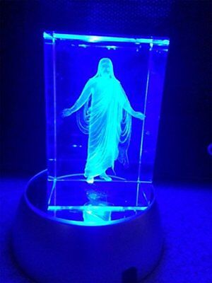 In Arms of Jesus Night Light or Desk Display Christus Crystal 3 inches tall with